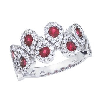 14k White Gold Ruby and .48 ct Diamond Fashion Ring