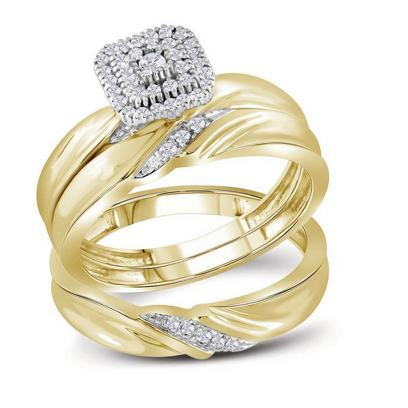 Kingdom Treasures 10kt Yellow Gold His & Hers Round Diamond Cluster Matching Bridal Wedding Ring Band Set 1/5 Cttw
