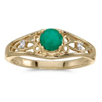 10k Yellow Gold Round Emerald And Diamond Ring