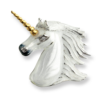 Sterling Silver Unicorn Brooch-White. Diamonds.