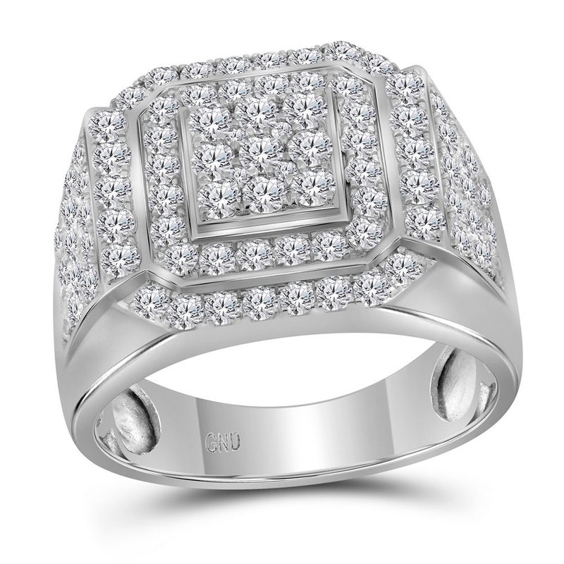 Gold-N-Diamonds, Inc. (Atlanta) 10kt White Gold Mens Round Diamond Square Frame Cluster Ring 2-1/2 Cttw