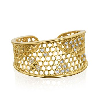 "Honeybee ""B"" Diamond Honeycomb Motif Cuff B314G"