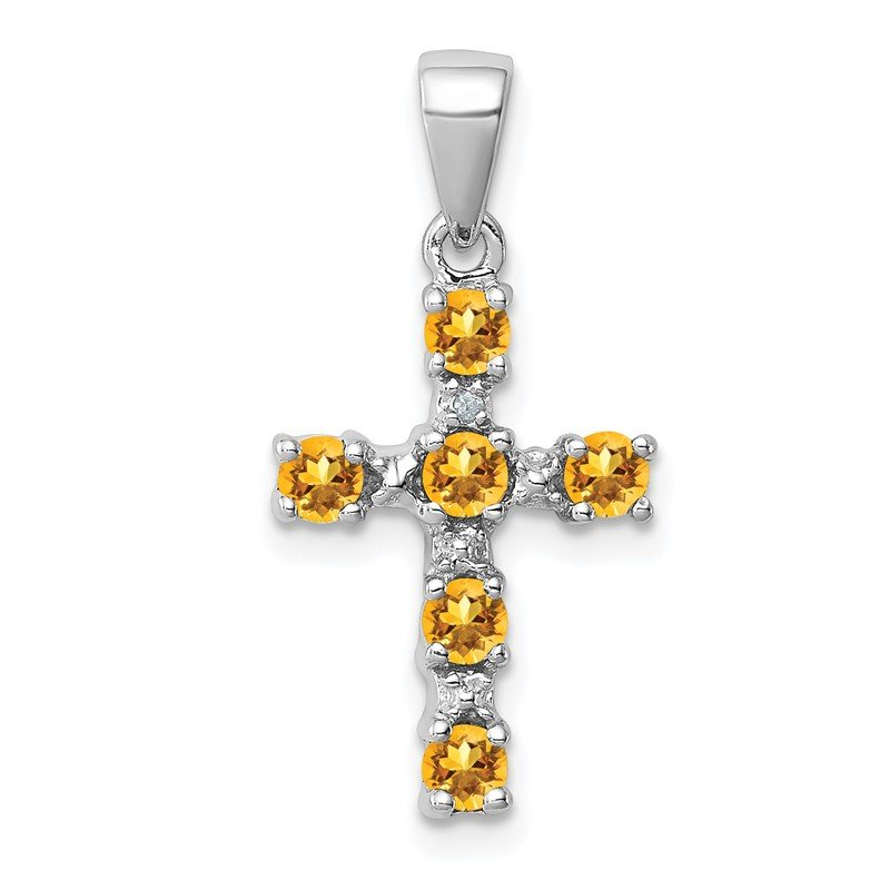 Quality Gold Sterling Silver Rhodium Citrine & Diamond Accent Cross Pendant