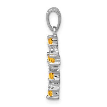 Sterling Silver Rhodium Citrine & Diamond Accent Cross Pendant