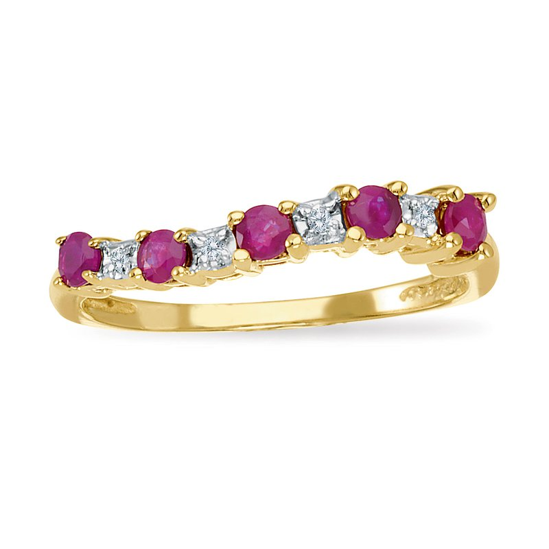 Color Merchants 14k Yellow Gold Ruby and Diamond Wave Band