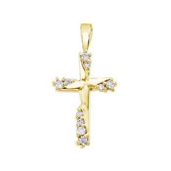 14K White Gold .20 Ct Diamond Cross Pendant