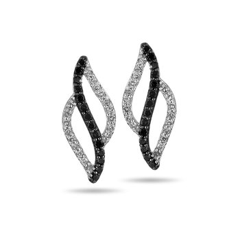 10K WG Black & White Diamond Stud Earring