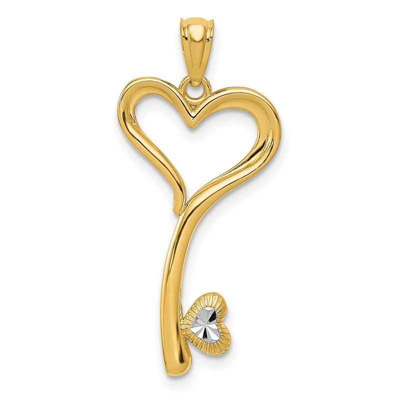 J.F. Kruse Signature Collection 14K and White Rhodium Polished D/C Heart Key Charm