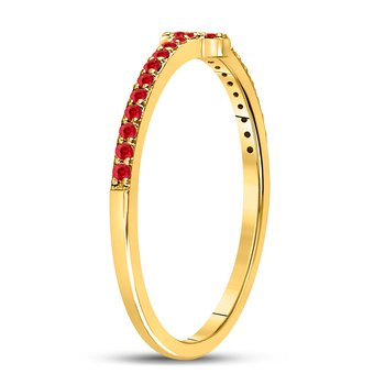 10kt Yellow Gold Womens Round Ruby Stackable Cross Band Ring 1/6 Cttw