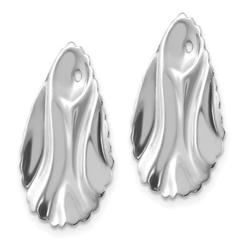 14k White Gold Polished Hammered Oval Earring Jackets