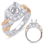 S. Kashi  & Sons White & Rose Gold Halo Engagement Ring