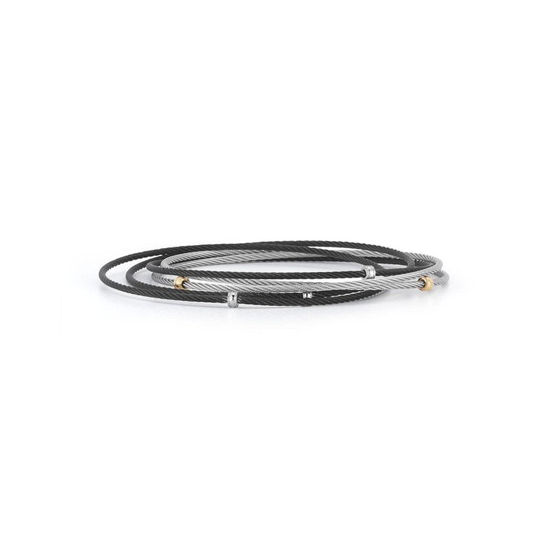 ALOR Black & Grey Cable Small Slide Over Bangle with 18kt Yellow Gold