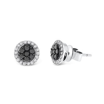 Black And White Diamond Stud Earrings in 14k White Gold with 50 Diamonds weighing .38ct tw