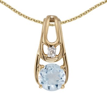 14k Yellow Gold Round Aquamarine And Diamond Pendant