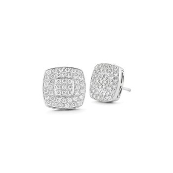 White Gold Large Square Stud Earrings with Diamonds