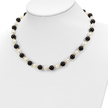 14k 6-7mm White Rice FW Cultured Pearl Onyx Bead Necklace