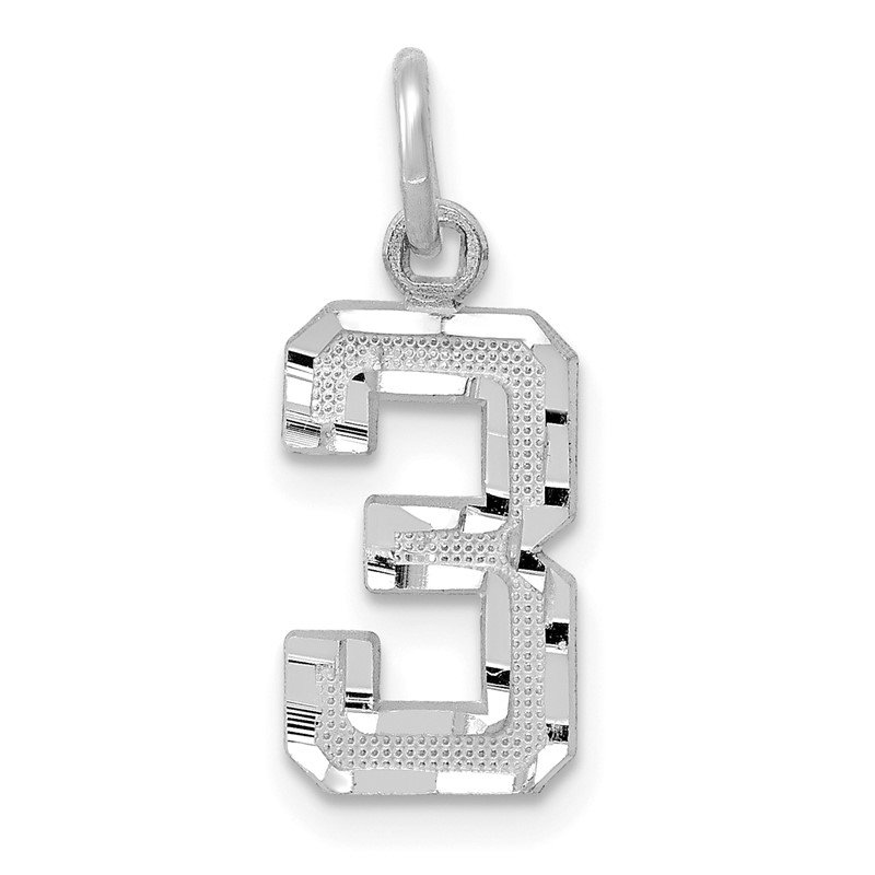 Arizona Diamond Center Collection 14kw Casted Small Diamond Cut Number 3 Charm