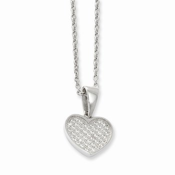 SS RH CZ Brilliant Embers Heart w/2in ext Necklace