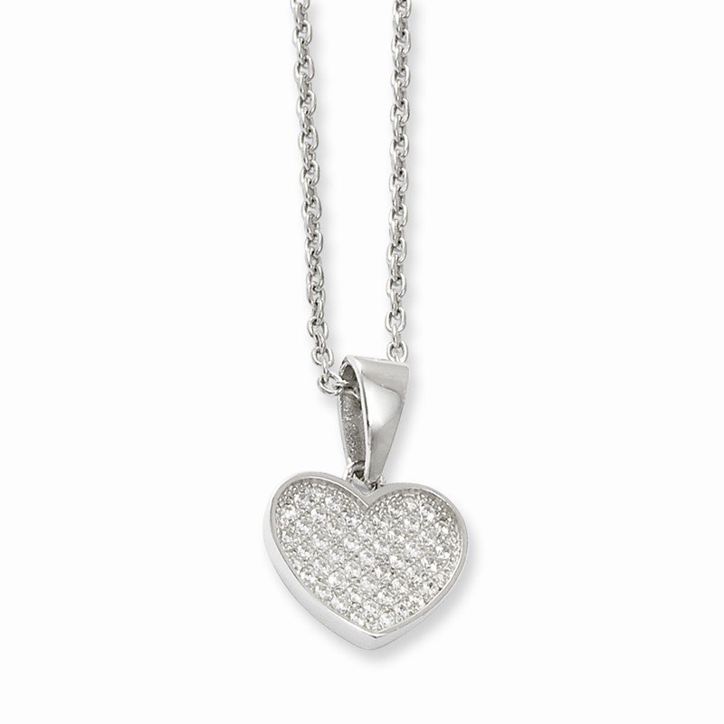 Quality Gold Sterling Silver & CZ Brilliant Embers Polished Heart Necklace w/2 ext Neck