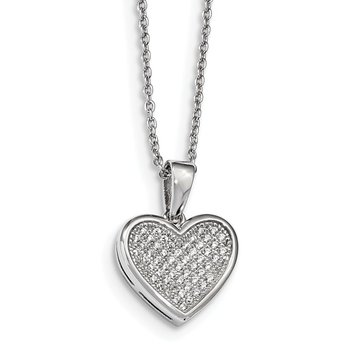 Sterling Silver Brilliant Embers Rhodium-pl CZ Heart with 2in ext Necklace