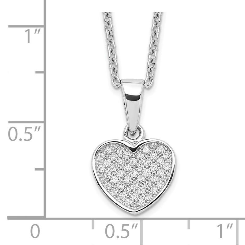Quality Gold Sterling Silver Brilliant Embers Rhodium-pl CZ Heart with 2in ext Necklace