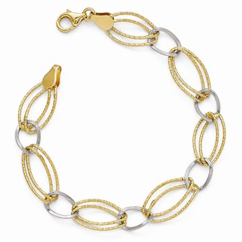 Leslie's Sterling Silver Gold-tone Flash 18k Plated Link Bracelet