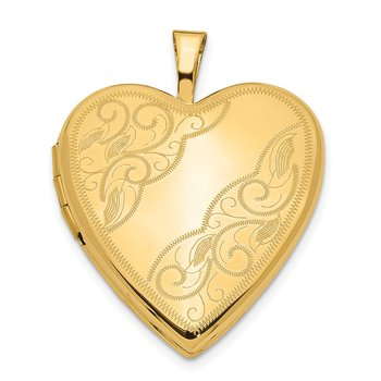 14ky 20mm Swirl Heart Locket