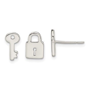 Sterling Silver Polished Left and Right Lock/Key Post Earrings