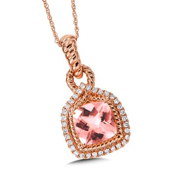 Morganite & Diamond Pendant in 14k Rose Gold
