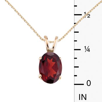 14k Yellow Gold Oval Large 6x8 mm Garnet Pendant