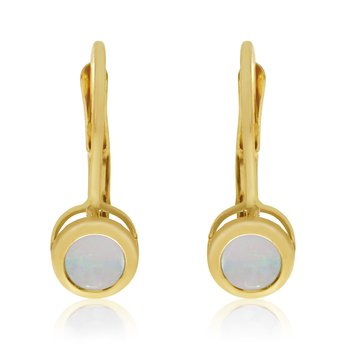 14k White Gold 4mm Opal Bezel Leverback Earrings