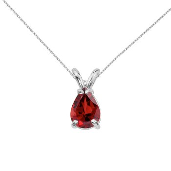 14k White Gold Pear Shaped Garnet Pendant