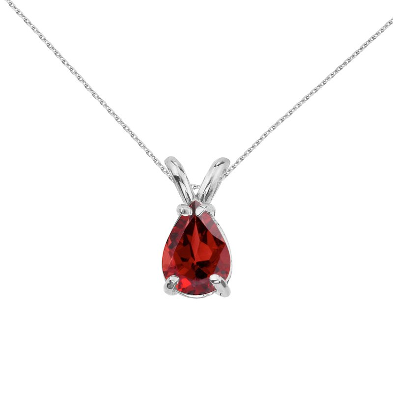 Color Merchants 14k White Gold Pear Shaped Garnet Pendant