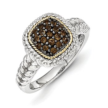 Sterling Silver w/14k and Black Rhodium Smoky Quartz Ring