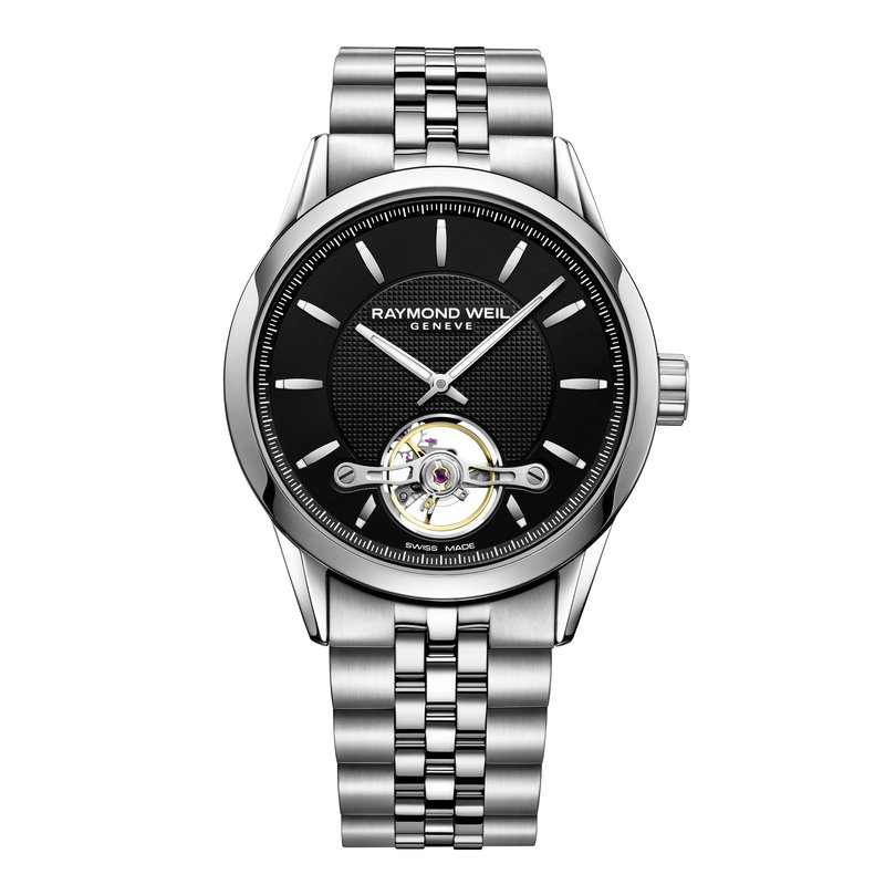 Raymond Weil Automatic open balance wheel, 42mm Calibre RW1212, steel on steel, black dial
