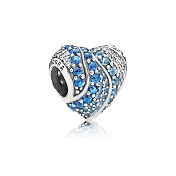 Aqua Heart Charm, Aqua London Blue Crystals Clear Cz