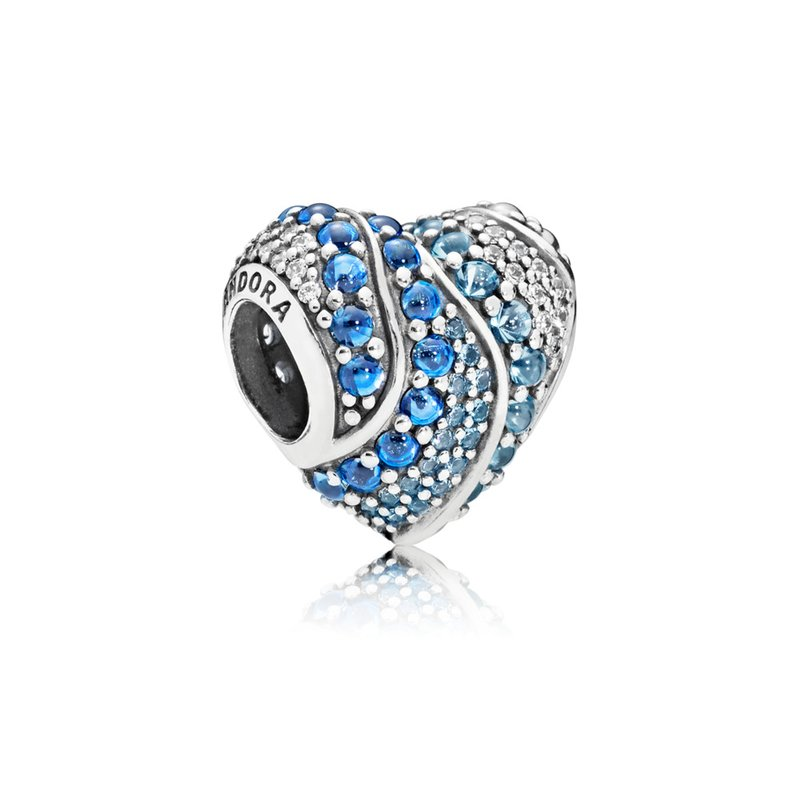 Pandora Aqua Heart Charm, Aqua London Blue Crystals Clear Cz