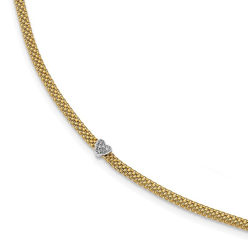 Quality Gold 14K Two-Tone CZ Heart Mesh Link Bracelet