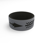 Qalo Men's Strata Grey & Black Arrow Silicone Ring