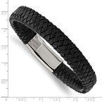 Chisel Stainless Steel Polished Black Woven Leather 8.5in Bracelet