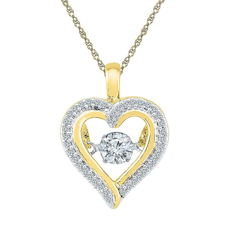 Gold-N-Diamonds, Inc. (Atlanta) 10kt Yellow Gold Womens Round Moving Twinkle Diamond Heart Outline Pendant 1/4 Cttw