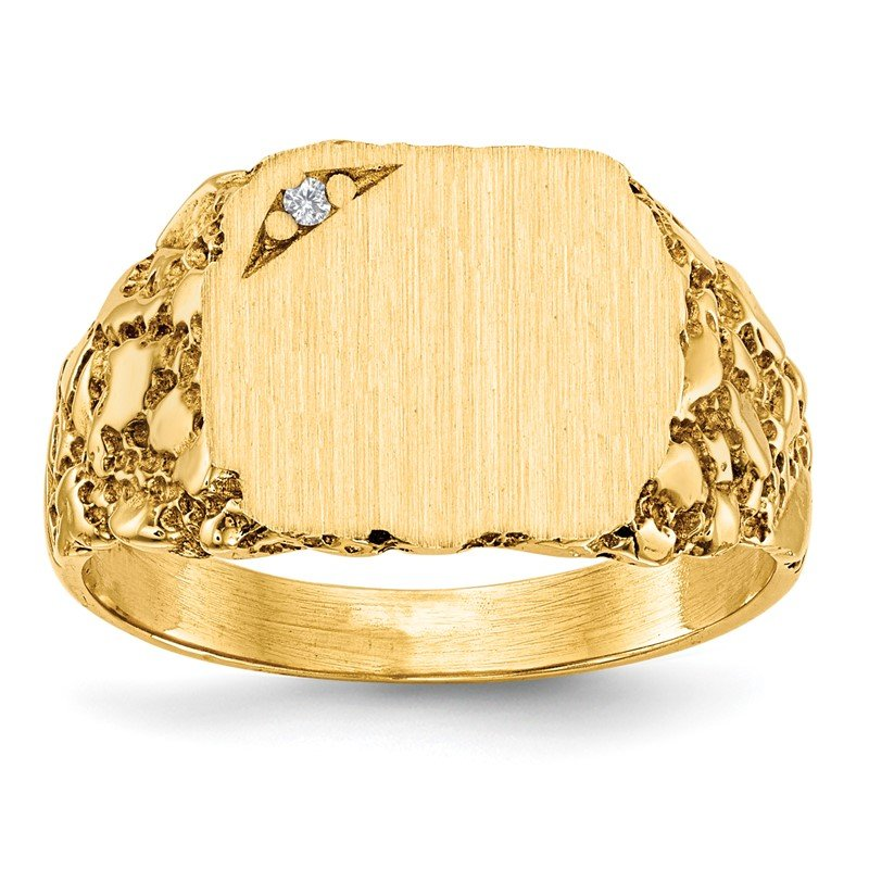 Quality Gold 14k 10.0x11.5mm AA Diamond Closed Back Signet Ring