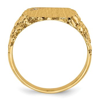 14k 10.0x11.5mm AA Diamond Closed Back Signet Ring