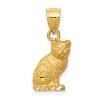 14K Diamond-cut Cat Pendant