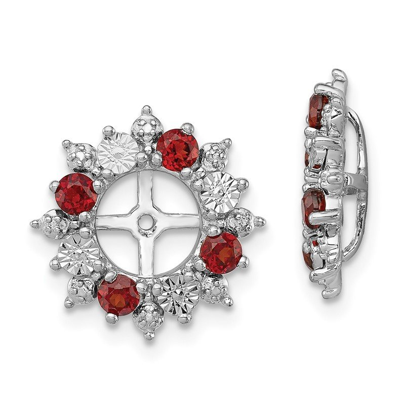 J.F. Kruse Signature Collection Sterling Silver Rhodium Garnet Earring Jacket