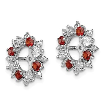 Sterling Silver Rhodium Garnet Earring Jacket