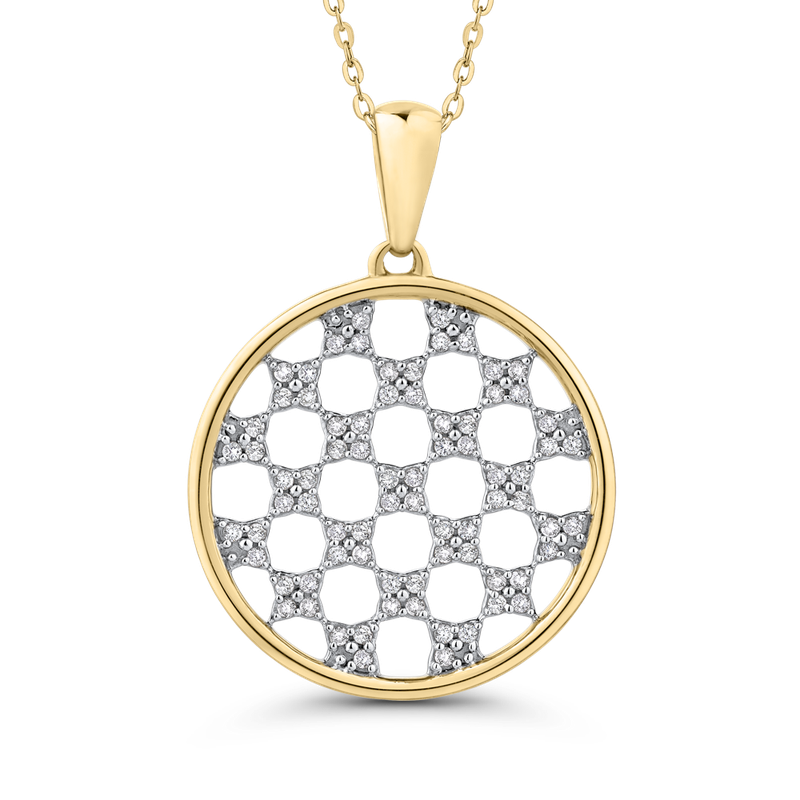 Essentials 10K Yellow Gold 1/4 Ct Diamond Circle Pendant with Chain