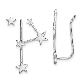 Sterling Silver RH-plate Constellation 1 Ear Climber and 1 Post Earring
