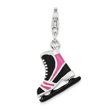 Sterling Silver Enameled 3D Ice Skate Charm