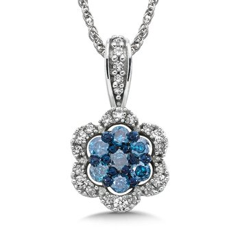 Pave set Blue Cluster and White Diamond Floral Motif Pendant, 14k White Gold  (1/3 ct. tw.)